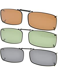 Eyekepper Grey/Brown/G15 Lens 3-pack Clip-on Polarized Sunglasses 54x30MM
