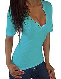 ZANZEA Mujer Camiseta Mangas Cortas Blusa Cuello Botones Elegante Noche Deportiva Casual