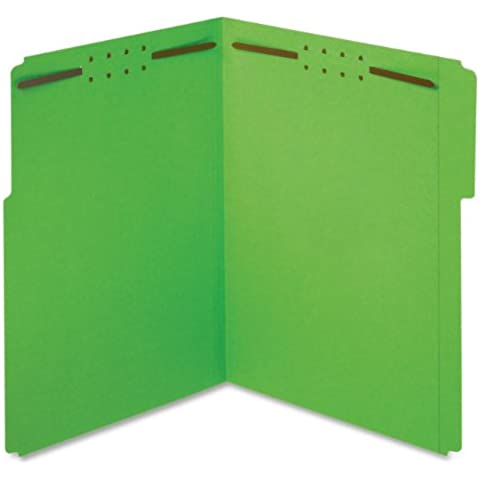 Folders w/Fastners, 11pt, 1/3 Cut, Ltr, 50/BX, Green, Sold as 1 Box