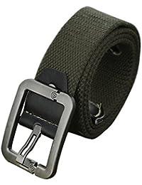 sourcingmap Men Outdoor Leisure Woven Canvas Pin Buckle Waist Belt 37mm Width 1.5inches