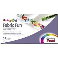 Pentel PTS15 Fabric Fun - Juego de ceras para tela (15 unidades, varios colores)
