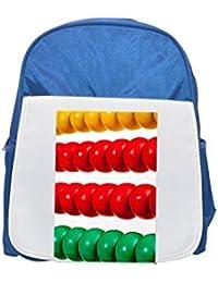 Colorido de madera Abacus – aislado sobre blanco impreso Kid s azul mochila, para