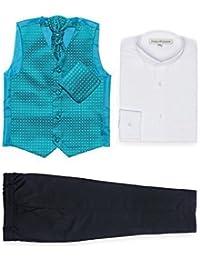 Paisley of London - Traje para niños, chaleco con estampado de diamante + pantalones azul marino