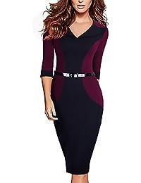 Donna Vestito Dalla Matita Moda Top Pa Work Business Cute Chic Vestito  Manica 3 4 V Collo Sottile Dell Anca Del… e910ffa77d0
