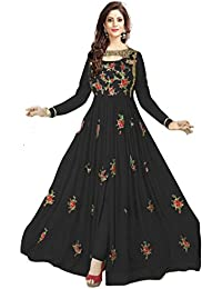 Clothfab Women Georgette Embroidered With Stone Work Party Wear Salwar Suit Dress Material (Avon-Black_Free Size_Black)