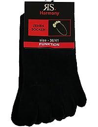 2-4-6-10 Paar Zehensocken mit echter Ferse Schwarz hoher Baumwollanteil ohne Naht, handgekettelt mit Komfortbund