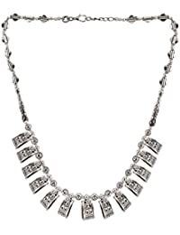 Efulgenz Antique Oxidised German Silver Fancy Party Wear Statement Necklace Jewellery For Girls And Women - B078SPLR1F