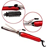 Plugmatic Professional Hair Curler For Women With Machine Stick and Brush Styler in Red Color