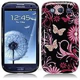 Etui de créateur pour Samsung Galaxy S3 i9300 - Etui / Coque / Housse de protection noir en TPU/gel/silicone avec motif fleurs roses et papillons