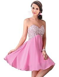 FASHION PLAZA Damen Ballkleider Strasssteine und blitzend Blatt eingesetzt trägerlos formelle kurz Abendkleider Modul D081 (EU42, rosa)