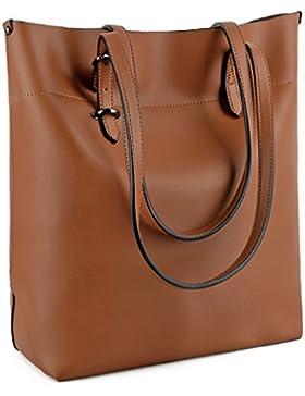 UTO Damen PU Leder Shopper modern gross Capacity Schultertasche Handtasche
