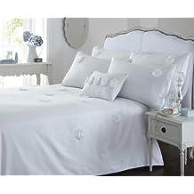 Edredón para cama Superking Almira juego para cama con pedrería decorativa (blanco)