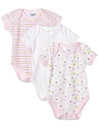 Spasilk Baby Girls' 3 Pack Bodysuit - Girl Prints