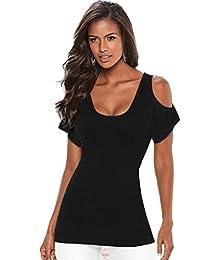 OVERMAL Épaule Femmes Summer Top à manches courtes Blouse Débardeurs T-shirt