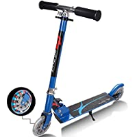 COSTWAY Kick Scooter, Kids Stunt Scooter, Folding 2 Wheel Scooter with Adjustable T-bar and Flashing Wheel For Children Girls Boys 4 to 13 Years, Maximum Load 70KG
