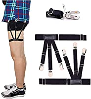 Mens Shirt Stays Upgrade Adjustable Elastic Garter Military Shirts Holder with Non-slip Locking Clamps