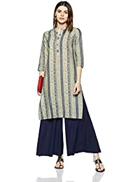 Myx Women's Straight Cotton Kurta (SS18GFT-005_Indigo_S)