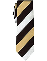 cravate soie rayée stripe gold black white 1in