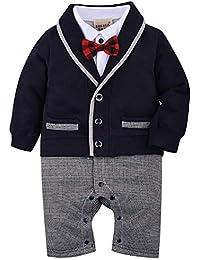 Zoerea 1pcs del Neonato Gentleman Pagliaccetto Suits Smoking Tuta con  Farfallino per Il Battesimo di Nozze 33e28afaf12