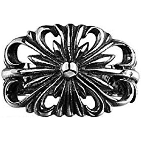 HFJ&YIE&H Generoso singolo grande fiore anello nessun uomo decorativi di pietra in acciaio inossidabile (nero) (1pc)