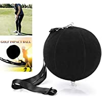 FunMove Golf Impact Ball Golf Swing Trainer Aid Smart Assist Practice Ball Teaching Posture Correction Training Adjustable Intelligent Arm Motion Guide Black