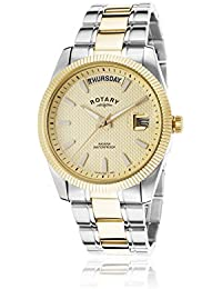 Rotary Men's Quartz Watch with Gold Dial Analogue Display and Two Tone Gold Plated Bracelet GB02661/20