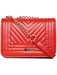 Toniq Faux Leather Red Luvina Quilted Sling Bag