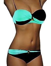 ALZORA Bandeau Twist Push up Bikini Set Damen Pushup Top und Hose Badeanzug, F821