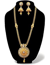 JewelMaze White Austrian Stone Gold Plated Long Haram Necklace Set-AAA3890