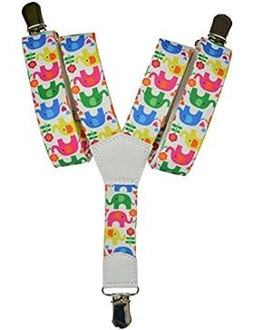 Bretelle Elasticizzata per Bambini 1-5 Anni, 'Y' Clip design Elefante Modello
