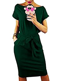 Auxo Mujer Vestidos Mujer Verano Manga Corta Vestido Sudadera Deportivo Vestido Sudadera Talla Grande Túnica Camiseta Larga Y-Verde L