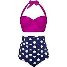Angerella Signore Retro Stile Punto di Polca con Cintola alta Costume da Bagno Bikini Set