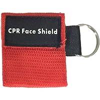 BIYI 2Pcs Mini kit de primeros auxilios CPR Keychain Mask/Face Shield Barrier Kit Máscaras para el cuidado de la salud Máscara de CPR de válvula de 1 vía (rojo)