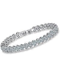 La Cabina Bracelet Bijou Fantaisie Femme Bracelet de Poignet Bangle en Perles  Bracelet Argent Multi- 87eb25a3499