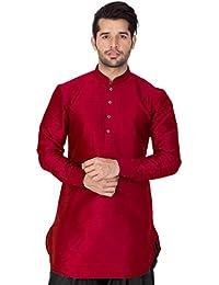 Vastramay Mens Cotton Silk Kurta (Maroon_VASMUK001MA)