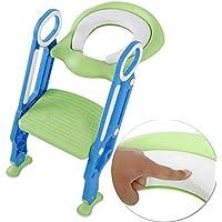 mango de seguridad Altura ajustable asiento acolchado suave Taburete de entrenamiento para inodoro BangShou pies antideslizantes para ni/ños peque/ños y ni/ños peque/ños verde verde plegable