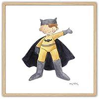 Cuadriman Cuadro Batman Enmarcado en Natural, Madera, Amarillo / Negro, 25x25x3 cm