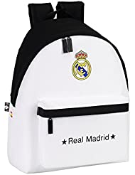 Real Madrid - Mochila, 32 x 40 cm, color blanco (Safta 641526774)