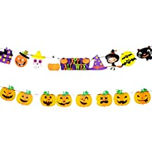 Halloween Banner mit Geist K/ürbis Wimpel Vintage Sackleinen Wimpelkette Bunt h/ängend Girlande f/ür Karneval Halloweendeko Party Grusel Deko Foto Prop Requisiten