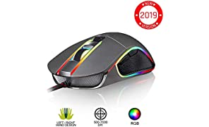 ⭐️KLIM™ AIM Chroma RGB Gaming Mouse - PC PS4 Xbox One - Wired USB - Adjustable 500 to 7000 DPI - Programmable Buttons - Comfortable for all Hand Sizes - Ambidextrous Excellent Grip Gamer Gaming Grey