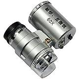 KingMas Mini 60x LED UV Light Pocket Microscope Jeweler Currency Magnifier Adjustable Loupe