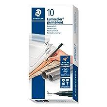 STAEDTLER 313-9 Lumocolor Universal Permanent Superfine Pens - Black, Pack of 10