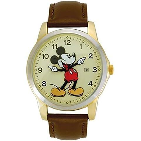 Disney MCK326 Unisex de Mickey Mouse de oro y el movimiento de las manos de reloj de cuero clásico