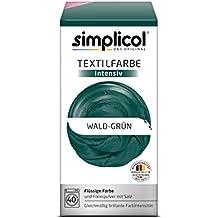 Simplicol Textilfarbe intensiv I Textilfärbung für die Waschmaschine I Färbemittel und Fixierpulver | Wald-Grün 1812
