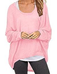 7adeea6ae5d3 Meyison Damen Lose Asymmetrisch Sweatshirt Pullover Bluse Oberteile  Oversized Tops T-Shirt