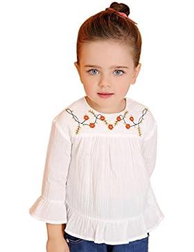Surenow Mädchen Kinder Kleinkind Falten Saum Rundhals Langarmshirt T Shirt