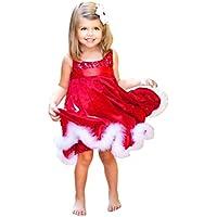 Hirolan Festliche Mädchenkleider Cocktailkleider Knielang Baby Mädchen Party Prinzessin Kleid Kinder Weihnachten Rot Paillette Tutu Kinderkleider Weihnachtsmann Geschenk
