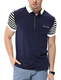 Fanideaz Men's Cotton Navy Blue Striped Polo T Shirt With Collar With Pocket