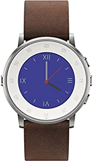 Pebble Time Round Smartwatch in cassa d'argento, cinturino in pelle, 20 mm, Argento/Mar