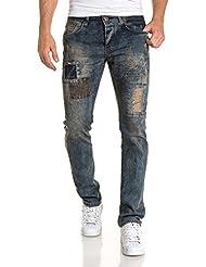 BLZ jeans - Jean homme bleu délavage vieilli marron tendance